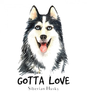 Portrait siberian husky for printing