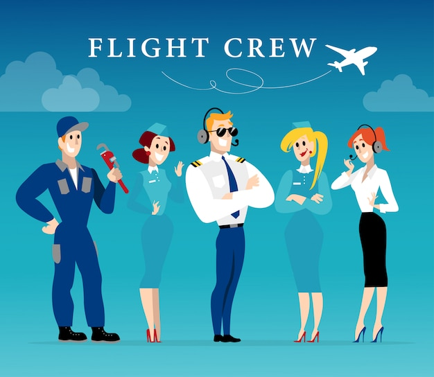 Portrait of stewardess lady and pilot in uniform.  style.