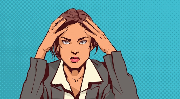 Portrait of stressed business woman holding head with headache businesswoman tired over pin up