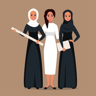 Portrait of successful creative business team of  muslim and caucasian women  working together on a joint project. multicultural group of young businesswomen standing together at startup. vector