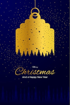 Portrait tag golden greeting card merry christmas and happy new year