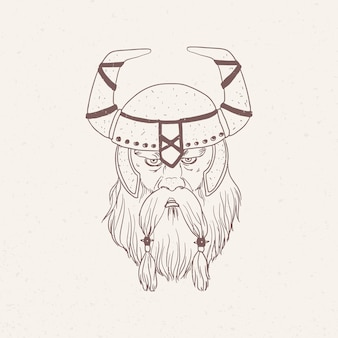 Portrait of viking with beard wearing horned helmet hand drawn with contour lines
