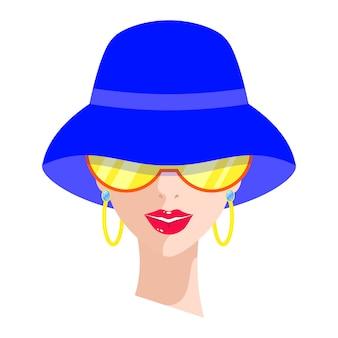 Portrait of woman in blue hat
