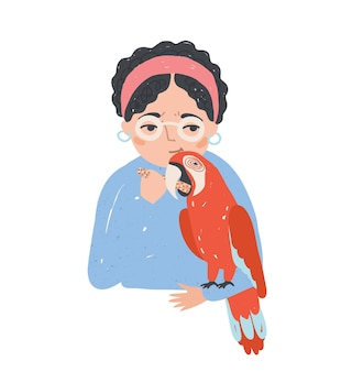 Portrait of woman in glasses holding her macaw parrot and feeding it. beautiful female cartoon character with exotic bird. pet love and care. colorful vector illustration in flat cartoon style