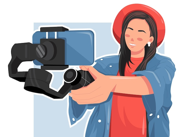 Portrait of woman making a video using smart phone flat vector illustration