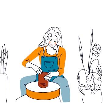 Portrait woman pottery