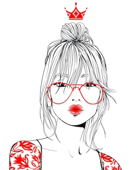 Portrait of young beautiful woman with glasses