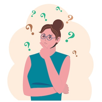 Portrait of young troubled woman girl with question mark in think bubble solving problem