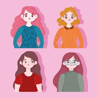 ピンクのイラストの肖像画の若い女性の漫画のキャラクター