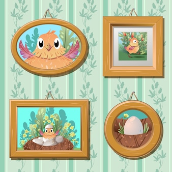 Portraits of a chicken on the wall.