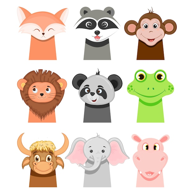 Portraits of funny animals for children on white. cartoon style.