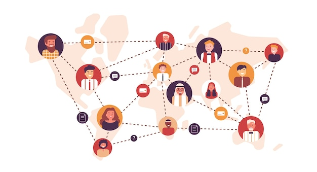 Портреты счастливых мужчин и женщин, связанных друг с другом пунктирными линиями на карте мира. международная бизнес-команда, глобальная профессиональная сеть, транснациональная компания. плоские иллюстрации шаржа.