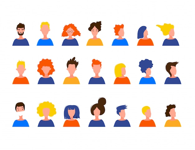 Portraits of women and men in a simple style isolated on a white background. cute flat style. illustration