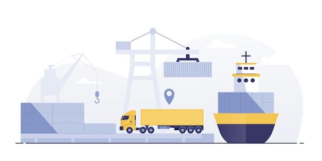 貨物船とコンテナのある港はクレーンで動作します。