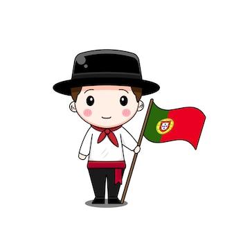 旗と民族衣装のポルトガルの少年