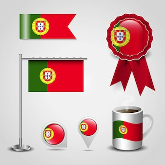 Portugal country flag place on map pin, steel pole and ribbon badge banner