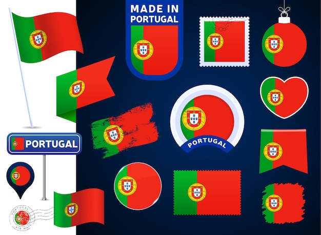 Portugal flag vector collection. big set of national flag design elements in different shapes for public and national holidays in flat style. post mark, made in, love, circle, road sign, wave