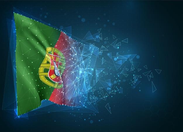 ポルトガル、旗、青い背景の三角形のポリゴンからの仮想抽象的な3dオブジェクト