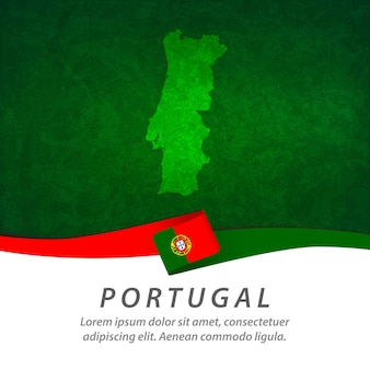 中央地図とポルトガルの旗
