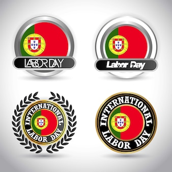 Portugal flag with labour day design vector