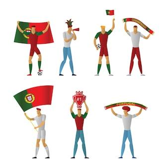 Portugal football fans cheerful soccer