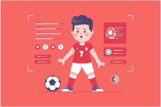 ポルトガルのサッカー選手のかわいいキャラクターデザイン