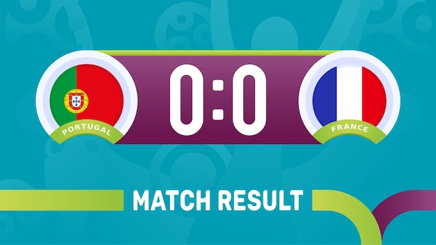 Portugal france match result, european football championship 2020 illustration.