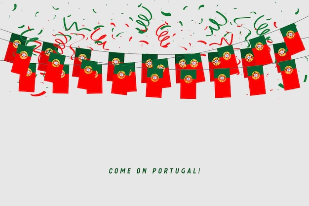 Portugal garland flag with confetti on gray background.