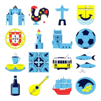 Portugal icons set in flat style