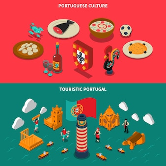 Portugal isometric banners set