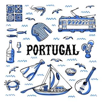Набор достопримечательностей португалии.