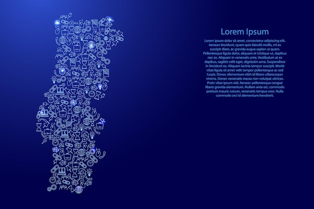 Portugal map from blue and glowing stars icons pattern set of seo analysis concept or development, business. vector illustration.