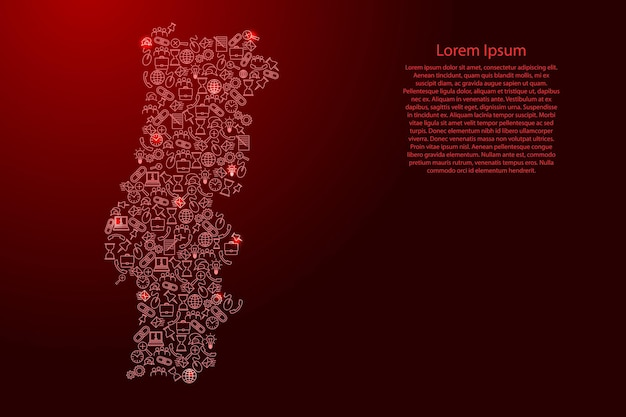 Portugal map from red and glowing stars icons pattern set of seo analysis concept or development, business. vector illustration.