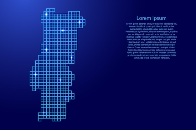 Portugal map silhouette from blue mosaic structure squares and glowing stars. vector illustration.