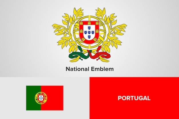 Portugal national emblem flag template