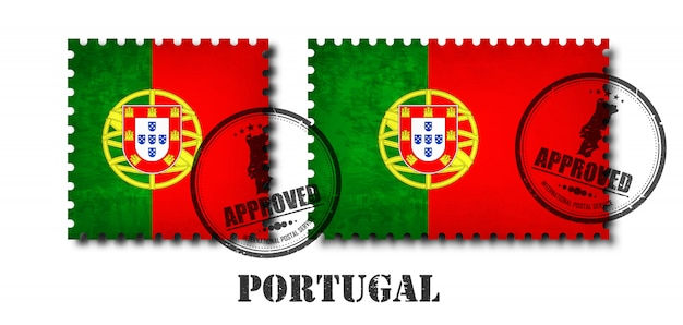 Portugal or portuguese flag pattern postage stamp