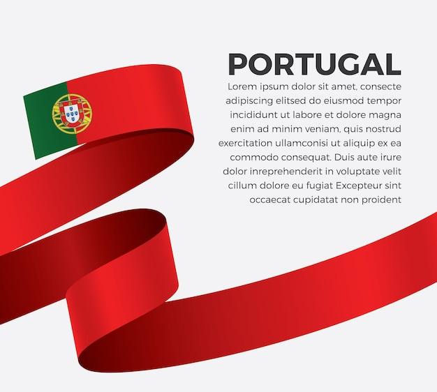 Флаг португалии ленты, векторные иллюстрации на белом фоне