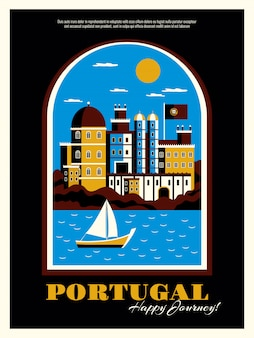 Portugal tourism poster with buildings ocean and boat symbols flat vector illustration