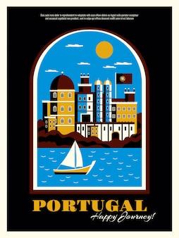 Manifesto di turismo del portogallo con l'illustrazione piana di vettore di simboli dell'oceano e della barca delle costruzioni