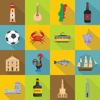 Portugal travel icons set, flat style