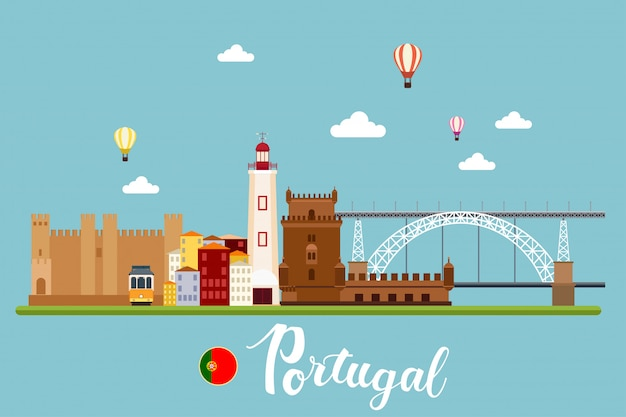 Portugal travel landscapes vector illustration