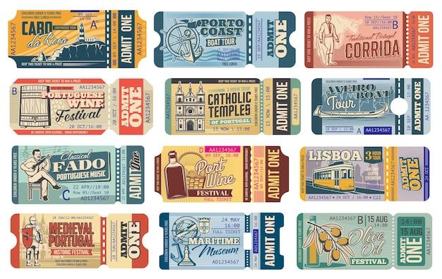 ポルトガルの旅行チケット、リスボンの観光ツアーと観光のランドマークのアトラクション、入場券。
