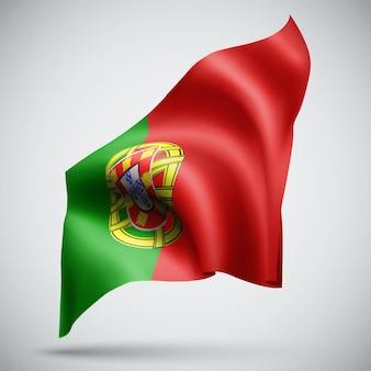 포르투갈, 흰색 배경에 고립 된 벡터 3d 플래그