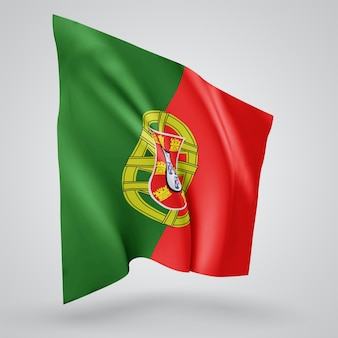 Portugal, vector flag with waves and bends waving in the wind on a white background.