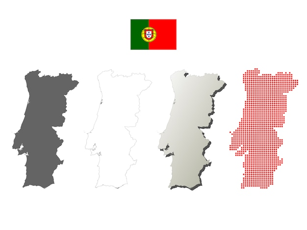 Portugal vector outline map set