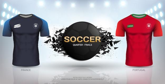 포르투갈 vs 프랑스 축구 저지 템플릿.