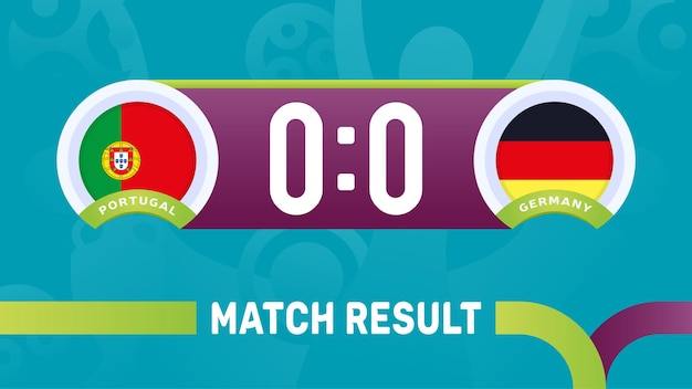 Portugal vs germany match result, european football championship 2020 illustration.