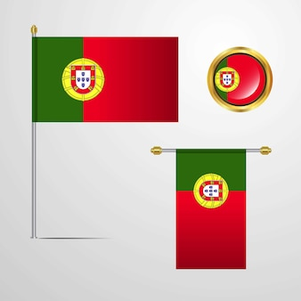 Portugal waving flag design with badge vector