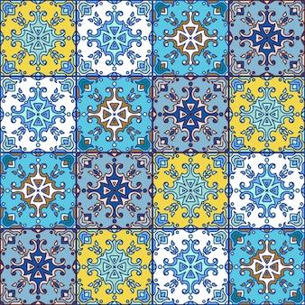 Португальская азулехо плитка. синий и белый великолепный бесшовный пат Premium векторы
