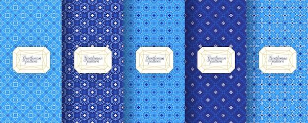 ポルトガルのアズレージョタイルのシームレスなパターンは、東洋のモロッコの幾何学的なモチーフを印刷します